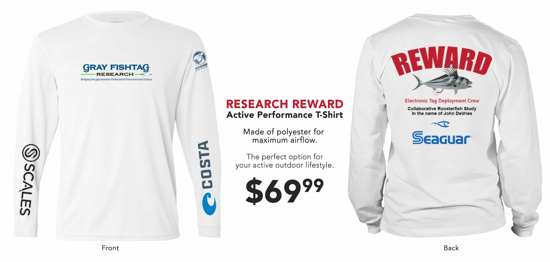 Gray FishTag Research Reward Shirt